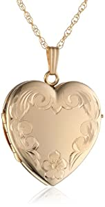 14k Yellow Gold Filled Engraved 4-Picture Heart Locket, 20