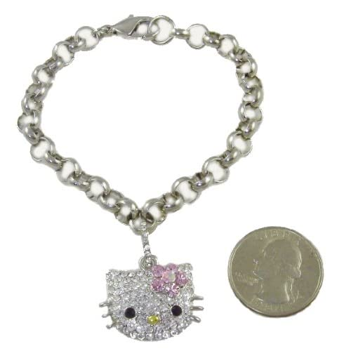 Hello Kitty Crystal Charm Bracelet with Pastel Pink Flower Bow