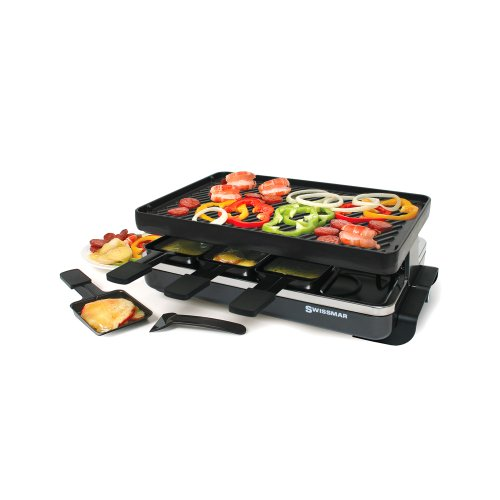 Swissmar 8-Person Classic Raclette With Reversible Cast Iron Grill Plate, Black
