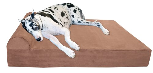 """Big Barker 7"""" Pillow Top Orthopedic Dog Bed - Giant Size - 60 X 48 X 7 Inches - Khaki - For Large and Extra Large Breed Dogs (Headrest Edition)"""