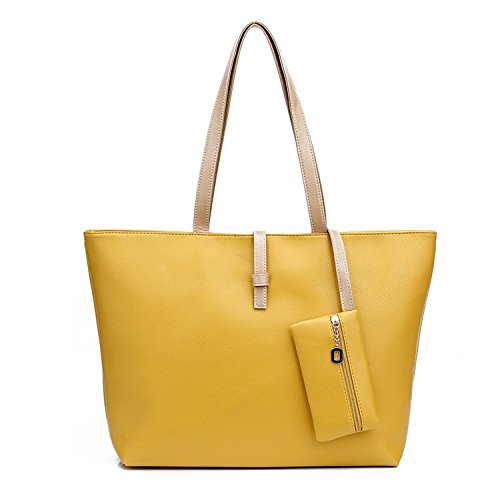 21716d8f421 Newtronics Italian Celebrity Style PU Leather Women s Tote Beach Large  Handbag - Yellow