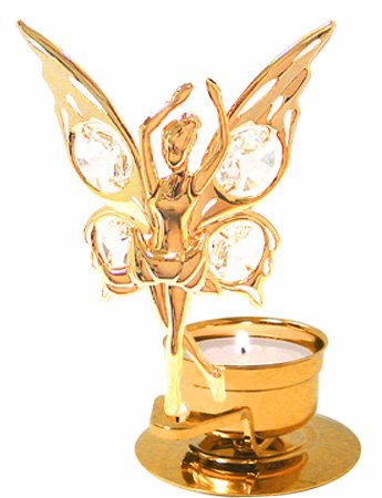 24K Gold Plated Dancing Fairy Tea-Light..... With Clear Swarovski Austrian Crystal