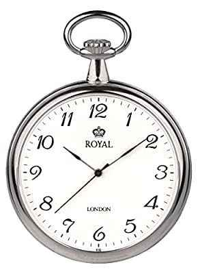 Royal London Pocket Watch 90014-01 Chrome Plated Open face