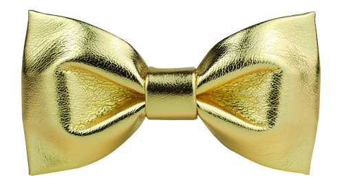 L-J Men'S Pu Leather Adjustable Tuxedo Wedding Star Neck Bowtie Bow Tie Gold