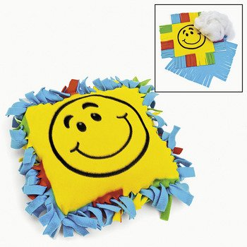 Fleece Smile Face Tied Pillow Craft Kit - Crafts For Kids & Novelty Crafts front-87875