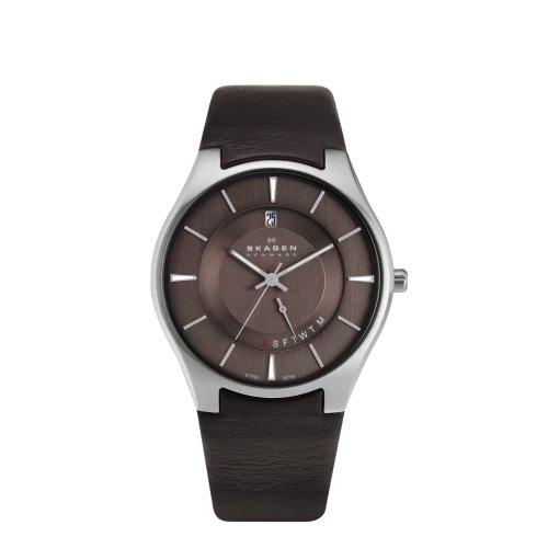 Skagen White Label Men's Quartz Watch with brown Dial Analogue Display and Brown Leather Strap 989XLSLD