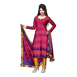 Pink and Yellow Chanderi Unstitched Dress Set