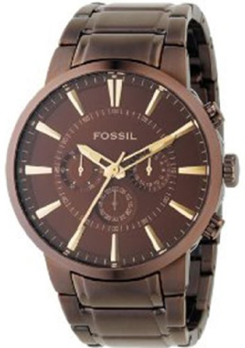 Fossil Men's FS4357 Brown Stainless Steel Bracelet Brown Analog Dial Chronograph Watch