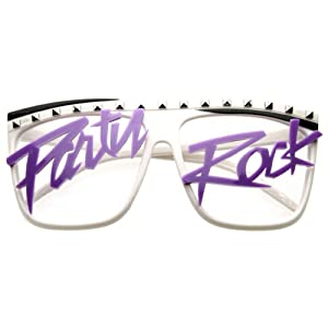 Party Rock Retro Neon Glasses Sunglasses Wayfarer lmfao (white / purple)