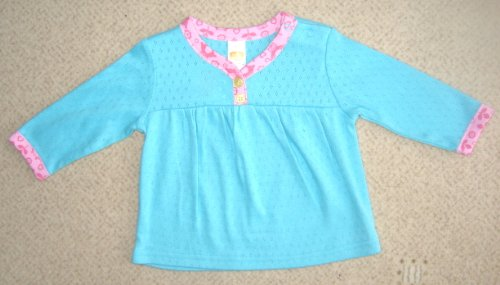 Pure cotton very soft, great quality, lots of lovely details blue long sleeve blouse for 0 - 3 months baby girl