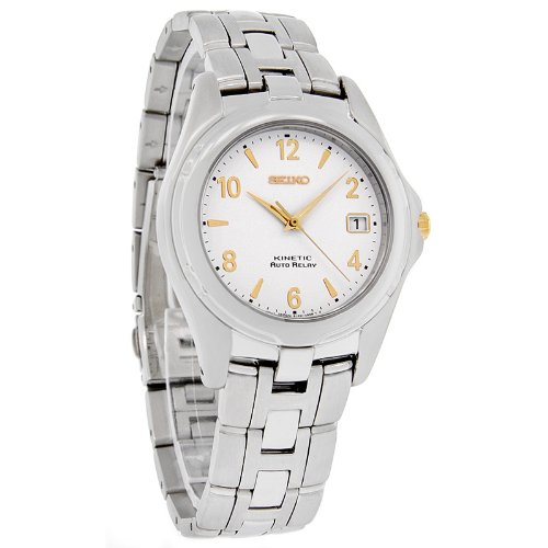 Seiko Kinetic Auto Relay Mens Two Tone Watch SMA075