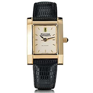 Stanford University Ladies Swiss Watch - Gold Quad Watch with Leather Strap by M.LaHart & Co.