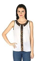 Aaliya Woman Polyester Crepe Sleeveless Casual Top - White, L