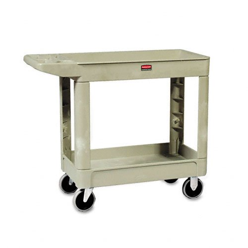 500lb Capacity Beige Plastic 2 Shelf Utility Cart by Rubbermaid