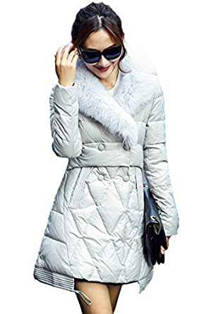 queenshiny damen lange daunenjacke mantel mit fuchs pelz kragen winter bekleidung. Black Bedroom Furniture Sets. Home Design Ideas