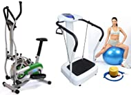 Get Package Deal: Gym Master 2 in 1 Elliptical Exercise Bike & Cross Trainer in Green - 1 Year Warranty + Gym Master - Crazy Fit Vibration 3000W Peak Power - Semi Commercial Machine -MP3- in White- 24 Month Uk Warranty On sale-image