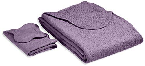 Linder 0581 /70/835/180 Castille - Juego de colcha y funda de almohada (algodón, 240 x 180 cm), color morado