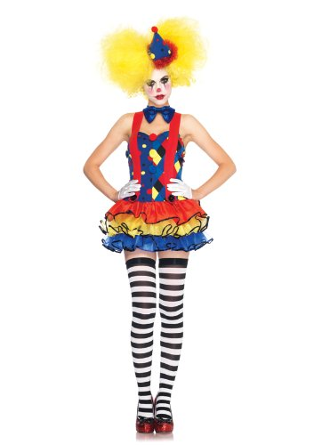 Leg Avenue Women's 3 Piece Giggles Clown Suspender Tutu Dress with Bow And Hat