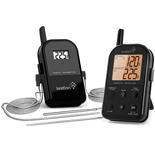 Ivation Wireless Meat Thermometer w/ Bonus Probe - Remote BBQ, Smoker, Cooking Thermometer - Monitors Food Up To 300 Feet Away - 3 Probes Included (Probe Bbq Smoker Meat compare prices)
