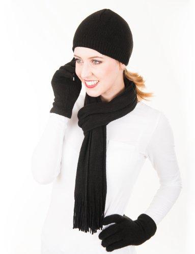 FR - Ensemble Femme - Uni - Bonnet Écharpe et Gants Superdoux - Couleur   Noir d98193b28c7