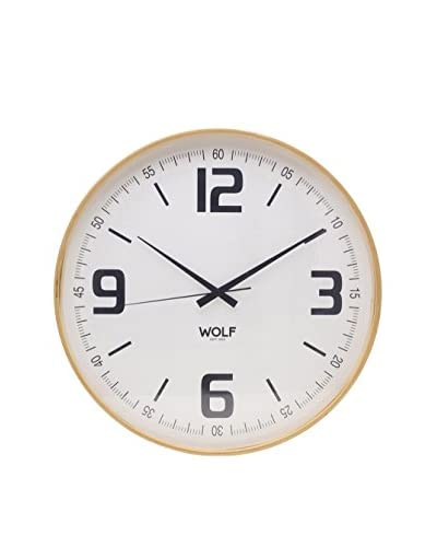 Wolf Designs 21 Round Wall Clock, White/Black