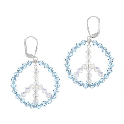 Sterling Silver Swarovski Elements Light Blue Circle with Aurorae Boreale Peace-Sign Center Lever Back Earrings