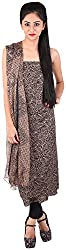 Bee Gee Boutique Women's Synthetic Unstitched Dress Materials (BG-11, Black & Golden)