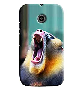 Blue Throat Monkey Shouting Hard Plastic Printed Back Cover/Case For Moto E2]