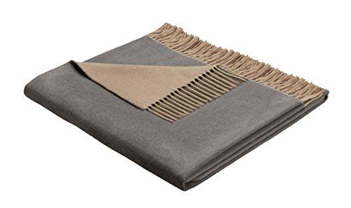 Bocasa Biederlack 130 x 170 cm Cachemira-de cuadros manta, arena gris