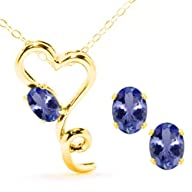 1.95 Ct Oval Blue Tanzanite 14K Yellow Gold Pendant Earrings Set
