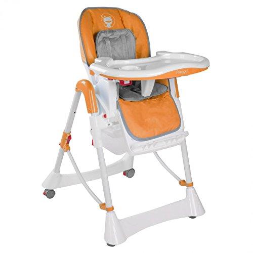 Froggy-Baby-Kinder-Hochstuhl-mit-Sicherheitsgurt-und-Groem-Esstisch-Hhenverstellbar-Zusammenklappbar-Orange