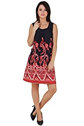 Printed Dress Red And Navy (Small)