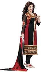 Meghali Women's Cotton Unstitched Salwar Suit (MGHR2D08_Maroon Black_Free Size)
