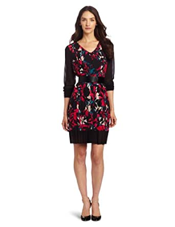 DKNYC Women's Long Sleeve Printed V-Neck Dress with Faux Leather Belt, Black, 2