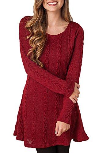 Mulisky Womens Stylish Wine Red Long Sleeve A-line Tunic Sweater Casual Dress XL