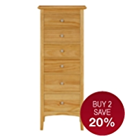Hastings Natural 6-Drawer Tallboy
