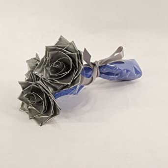 Flowers for Him Silver Duct Tape Roses Gift for Him Unique Gift Idea