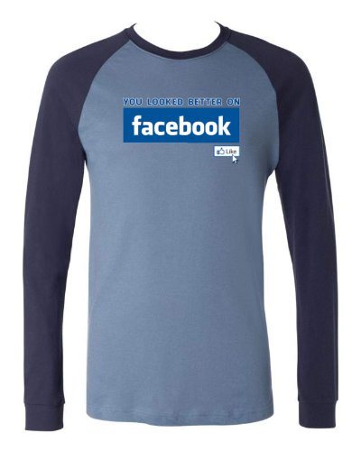 You Looked Better On Facebook Men's Baseball Shirt (Lt Blue/Navy, Large)