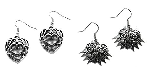 (2-Pack) The Legend of Zelda Crystal Hearts and Majoras Mask Dangle Earrings with Gift Box