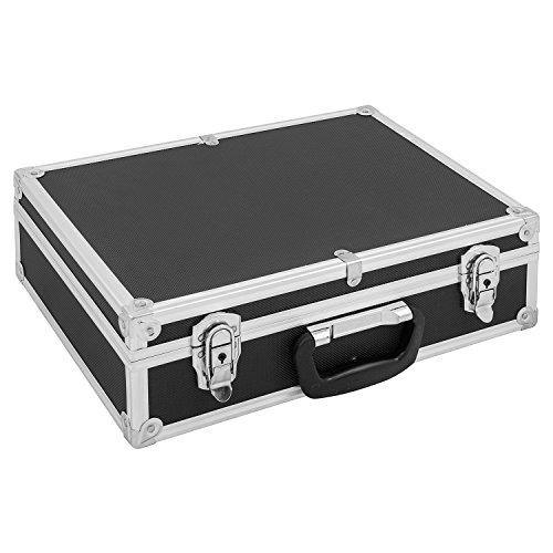 Werkzeugkoffer Werkzeugkiste 42,5x30,5x14 cm + Schlüssel - Schwarz Aluminium