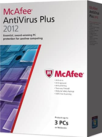 McAfee AntiVirus Plus 2012, 3 PC's, 12 month Subscription, Upgrade version from previous 2011 versions (PC)