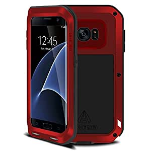 Galaxy s7 edge Waterproof case,Leebay Shockproof Dust/Dirt/Snow Proof Aluminum Metal Military Heavy Protection Case for S7 edge (Red)