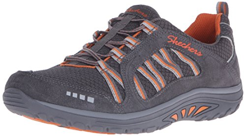 Skechers Women's Reggae Fest Epic Adventure Walking Shoe, Charcoal Suede/Mesh/Orange Trim, 8.5 M US