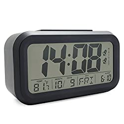 JCC Dual Alarm Optional Weekday Alarm Automatic Sensor Back Light Bedside Digital Alarm Clock with Date, Day Temperature Display and Snooze Function (Black)