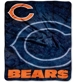 "Chicago Bears 50""X60"" Roll Out Design Royal Plush Raschel Throw Blanket--(Package Of 2)"