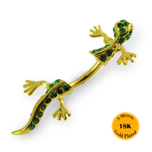 3 Micron 18K Gold Plated Emerald Gem Gecko Double Size 925 Sterling Silver Belly Ring with 316L Surgical Steel 14Gx3/8(1.6x10MM) Banana