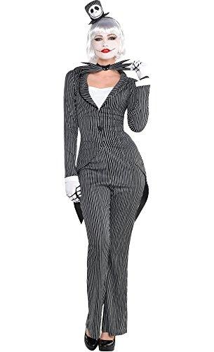 HalloCostume Adult Lady Jack Skellington Costume - The Nightmare Before Christmas (The Nightmare Before Christmas Jack Skellington Adult Costume)