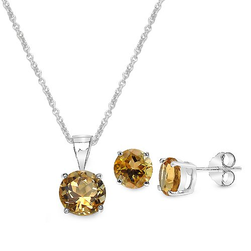 4.05 Carat Citrine Round Shape .925 Sterling Silver Earring & Pendant Set