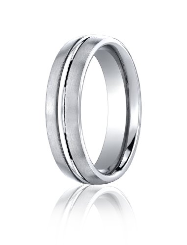 Cobalt Chrome, 6mm Comfort-Fit Satin-Finished Design Ring (sz 14)