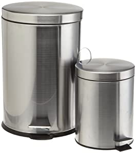 Prime Pacific Pro Cook Stainless Steel Trash Cans, Set of 2, 5 and 20 Liter